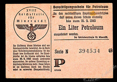 Germany, March 1945 Ration Coupon for One Liter of Petrol - 75mm x 100mm RARE