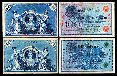 Germany, Set of Two 1908 100 Mark Notes - Red and Green Seals -