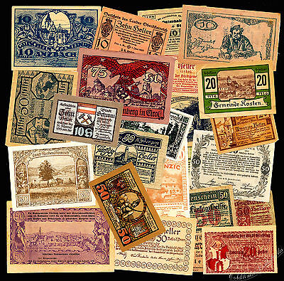 Great Lot of 25 Austrian Notgeld Notes - Assorted Notes - 1918-1921
