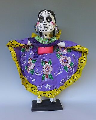 "LARGE Mexican folk art paper mache Day of Dead calaca dancer 25"" tall"