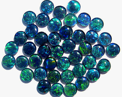 43 Australian Opal Triplets, 5mm rounds, blues and greens