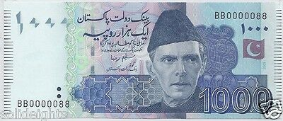 Pakistan 1000 Rupees Super Solid Serial Bb 0000088 Unc Lucky Numbers #88