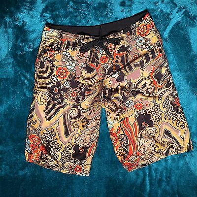 Boys Hurley Board Shorts Swim Trunks Size 5 RARE SAMURAI theme AMAZING DESIGN