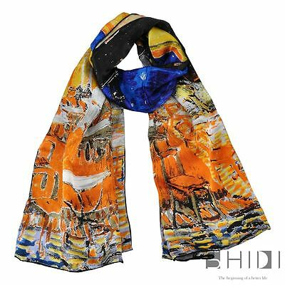 Van Gogh's Cafe Terrace at Night Long Silk Scarf Beach Wrap Shawl Christmas Gift