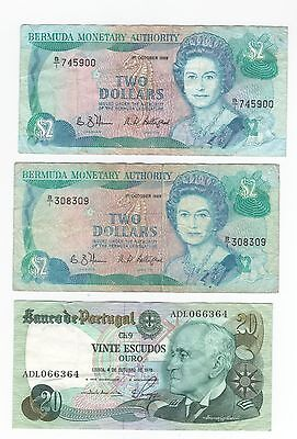 "AU 3 pc. lot,foreign currency Bermuda/Bermuda/Portugal ""Make Offer"""