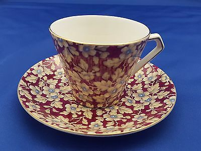 """Vtg Lord Nelson """"royal Brocade"""" Cup Saucer Burgundy Chintz Flowers Art Deco"""