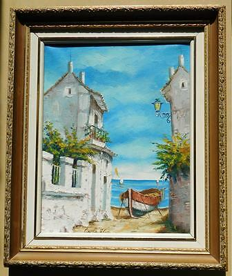 """Original oil painting of Mediterranean scene by Cole in 1946, canvas: 15""""x11.5"""""""