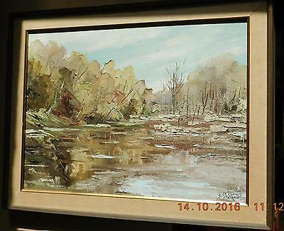 "Original oil painting by listed artist Valdis A. Teteris, framed 23""x29"""