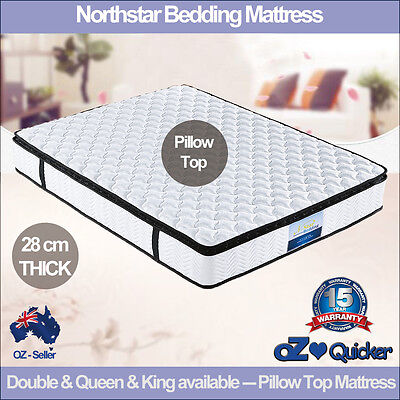 Luxury Double Queen King Mattress Pillow Top Latex Pocket Spring Foam pocket Bed