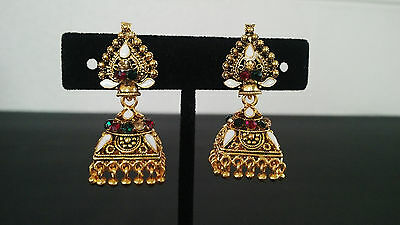 Jhumka Indian Earrings Ethnic Traditional Jhumki Gold Fashion Square Ear Stud