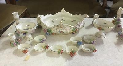 Rare Carl Thieme Dresden Saxony Decorated Compote ,candelabras And Dishes. 19C