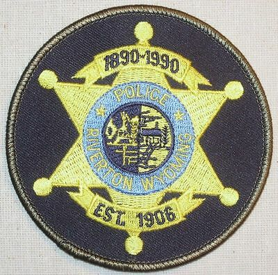 "Riverton Wyoming Police Patch - 3 3/4"" x 3 3/4"""