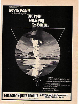 "1976 David Bowie ""The Man Who Fell To Earth"" U.K. Vintage Print Ad"