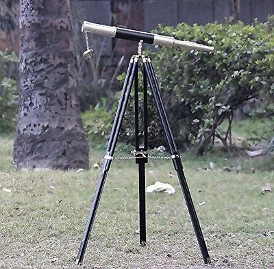 Collectibles Buy Marine Chrome Brass Black Leather Telescope Brown Tripod