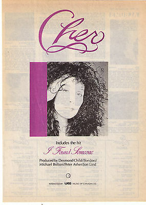 "1987 ""Cher"" I Found Someone"" Vintage Album Print Advertisement"