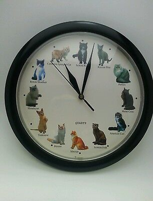 "Kitty Cat Quartz 8"" Wall Clock 12 Cat Breeds w/ Sound Meows on the Hour Black"