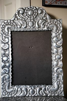 """NEW Vtg Extra Large Frame Mirror 17""""x25"""" Solid Pewter Wedding Portrait Painting"""