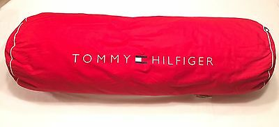 Tommy Hilfiger Red Decorative Throw body Pillow spell out Vintage Color Block