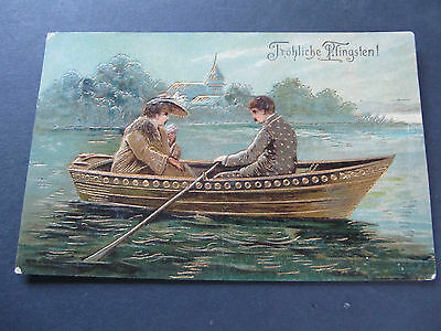Antique postcard - Frohliche Pfingsten - Rowboat, Post Melbourne 1900