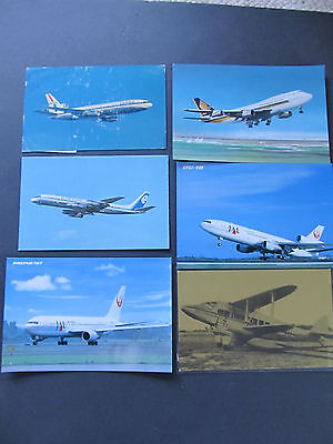 Six different types of Aircraft Postcards, mostly unused