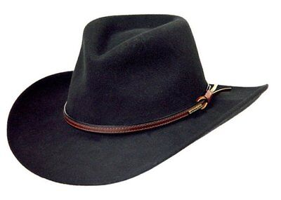 Stetson Bozeman Wool Crushable Cowboy Hat Black LARGE (7 3/8 -7 1/2) MADE IN USA