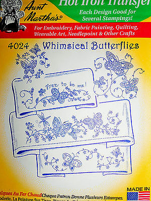 "Aunt Martha's Hot Iron Transfer # 4024 "" Whimsical Butterflies """
