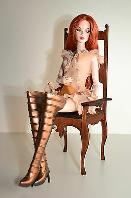 Queen chair for dolls 1:6 1/6 furniture FR Barbie throne of the King Royal dark