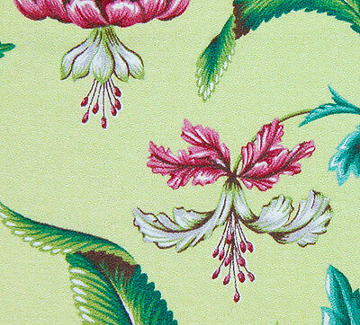 1940s/50s Vintage Exotic Pink Flowers on Chartreuse Barkcloth - End of Bolt!