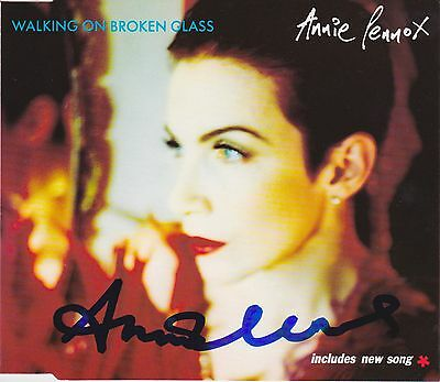 Annie Lennox signed Walking on Broken Glass cd single