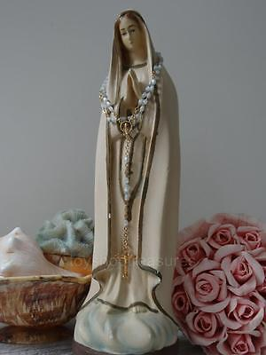 Antique Vintage Mary Statue 33cm tall Chalkware Our Lady Virgin Mary with Rosary
