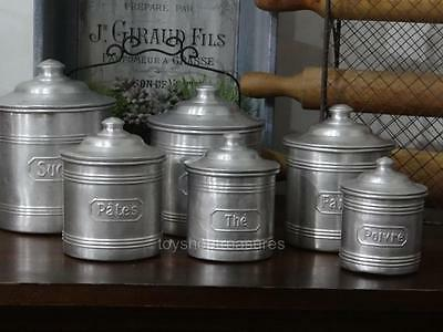 Genuine FRENCH Antique Set of 6 Aluminium Cannisters Coffee Tea Spice