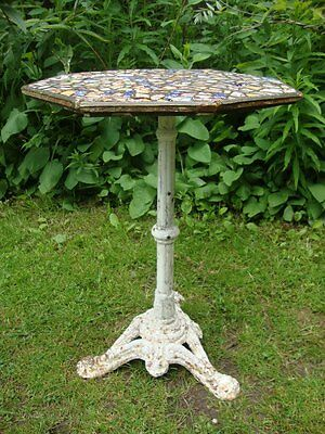 19thc CAST IRON MOSAIC TOP TABLE FOR TLC - A QUEEN VICTORIA COMMEMORATION PIECE
