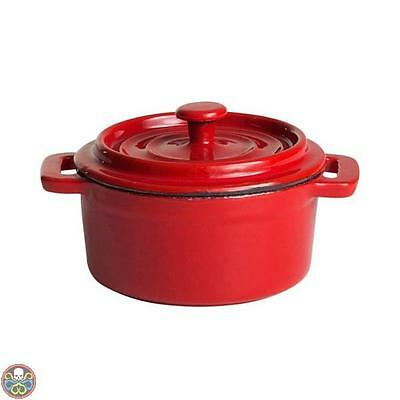 Paellaworld Tg: Ø 10 Cm Rot/weiß Emailliert - Pentola Con Coperchio In Nuovo