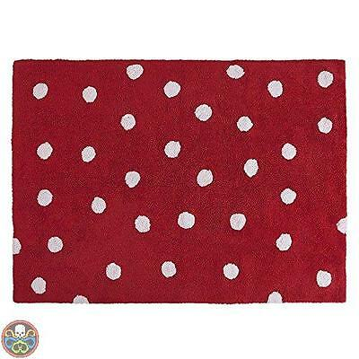Lorena Canals Rosso C-00003 Topos Red Washable Rug Nuovo