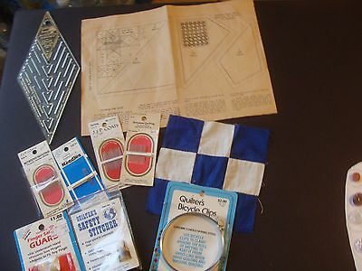 Vintage quilting supplies Betweens Needles/Bicycle clip/Finger Guard/Pattern