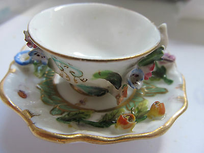 ANTIQUE  MINIATURE CUP AND SAUCER c1880,COLLECTABLE, LADYBIRD. HAND PAINTED