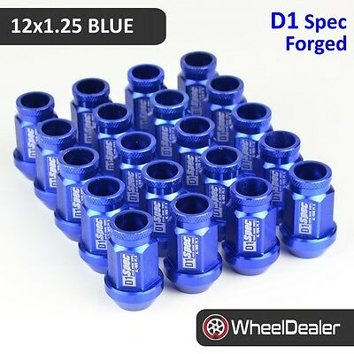 20 x Blue D1 Spec Racing JDM Wheels Rim Lug Nuts 12x1.25 Subaru Nissan 51mm