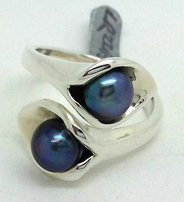 pearl Crossover ring solid Sterling Silver, freshwater, UK size P, actual one.