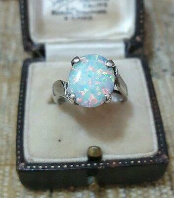 925 Sterling Silver Ring With Synthetic Fire Opal, Size L