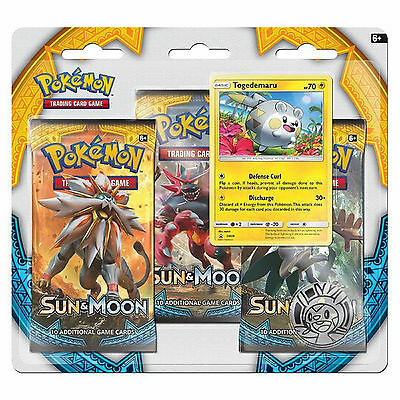 Pokemon Sun & Moon 3 Pack Blister - Togedemaru - Triple Booster - Trading Cards