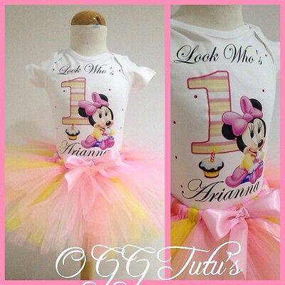 Baby Girls 1st birthday pastel Minnie Mouse Personalised with Name tutu outfit