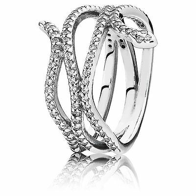 Genuine & Authentic Pandora Silver Swirling Snake Ring. 190954CZ. Size 54.