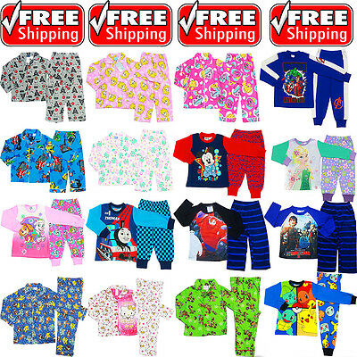 NEW Sz 1-16 KIDS PYJAMAS WINTER BOYS GIRLS SLEEPWEAR PAW NIGHTIES TEE POKEMON GO