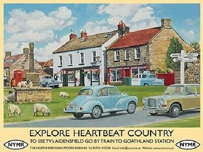 Heartbeat Country 60's Yorkshire NYMR Classic Cars Village Medium Metal Tin Sign