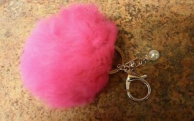 Genuine Rabbit Fur Pearl Ball PomPom Car Keychain Handbag Charm Key Ring NEW