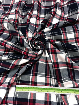"Red White & Black Plaid Woven Cotton Fabric 44""W  DRAPE TABLECLOTH Quilt Shirt"