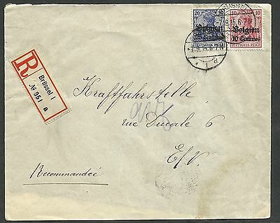 1915 Registered German occupied Belgium cover.20c and 5c tied by Brussels cds.