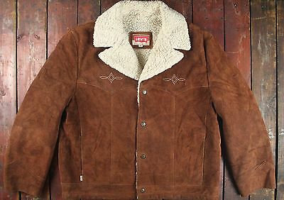 VTG 70s LEVI'S COWHIDE SUEDE LEATHER SHERPA LINED WESTERN COAT JACKET USA 44/46