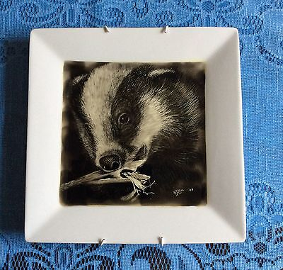 """Badger VINTAGE CRAFT Revived. Hand Illustrated Candle Smoked Plate. 10"""" Sq Plate"""