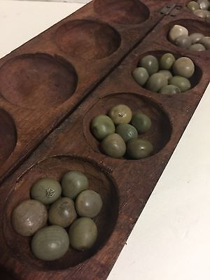 Mancala Owary Vintage Carved Game Hand Board Wood African Tribal With Seeds